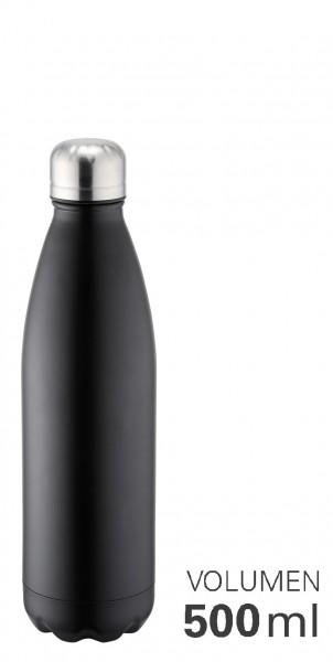 Thermoflasche 500 ml doppelwandig vakuumisoliert schwarz