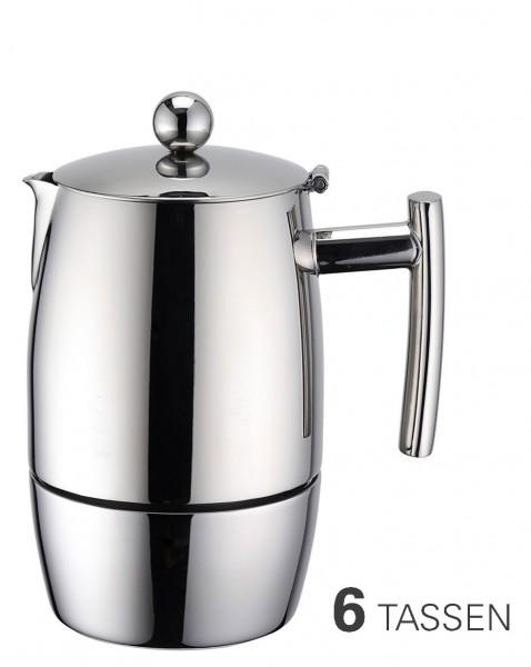 Espressokocher aus Edelstahl für 6 Tassen
