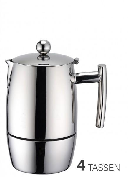 Espressokocher aus Edelstahl für 4 Tassen