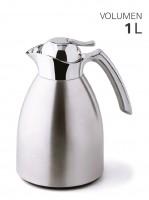 Isolierkanne Edelstahl mit Glaseinsatz 1 Liter
